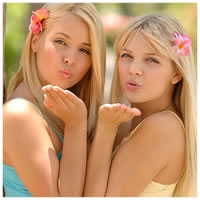 Sandy and Yana Blowing Kisses In Hawaii